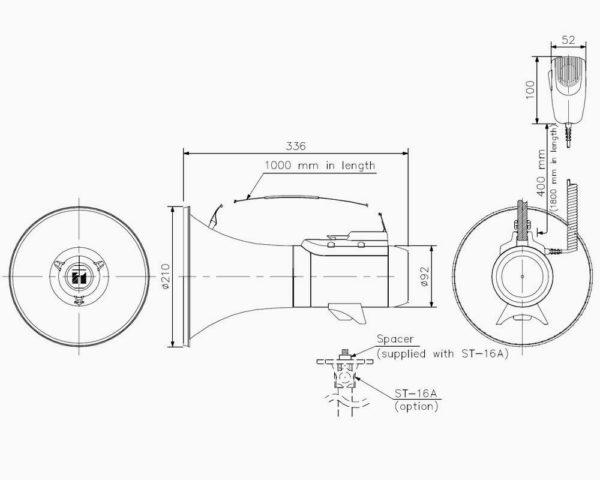 Размеры наплечного мегафона TOA ER-2215W | toa.com.ua