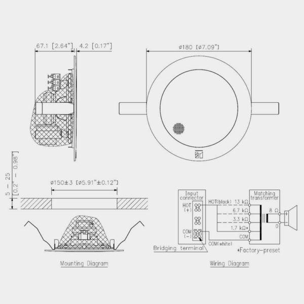 Громкоговоритель потолочный TOA PC-1869 | toa.com.ua