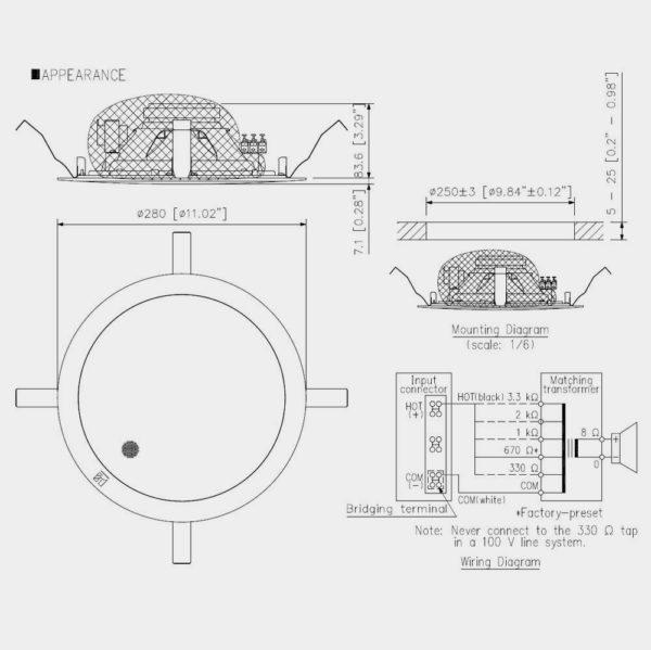 Громкоговоритель потолочный TOA PC-2852 | toa.com.ua